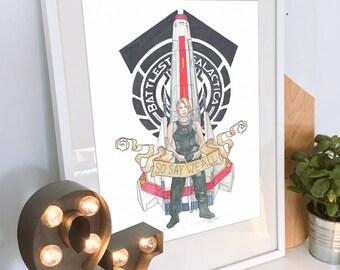 Tattoo style Starbuck illustration, an original watercolour. A Battlestar Galactica parody of Kara Thrace (Katee Sackhoff) and a BSG Viper!