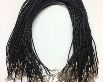 "16"" x 2mm Black PVC Cord Necklaces With Adjustable Iron Clasp For Jewelllery Making"