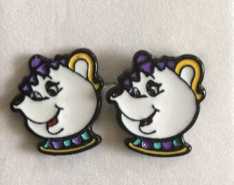 Ms spout Teapot Earrings, Belle and the Beast