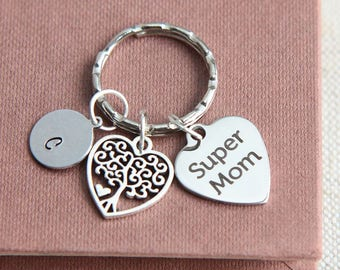 Mother Keychain, Super Mom Keychain, Tree of Life Keychain, Tree of life Keyring, Gift for Mother from Daughter, Mothers Day gift for Mother