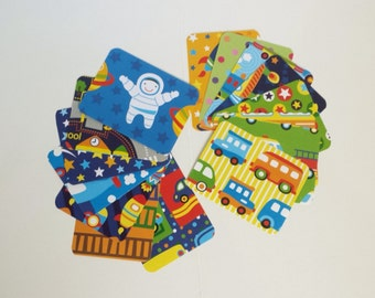 Kids Paper Pack, Boys Journaling Cards, Going Places Cars Trains Planes Rockets , Scrapbook Embellishments, Card Making, Artist Trading Card