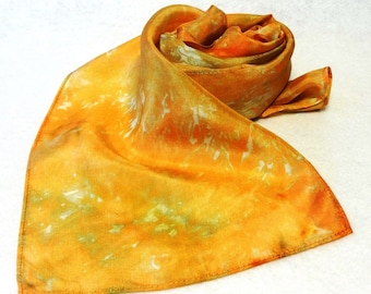 Hand-dyed Silk Scarf, Ice-Dyed Silk Scarf, Peach Scarf, Peach, Gold Silk Scarf, Gold Scarf, Peach Silk Scarf - #SS-16-17