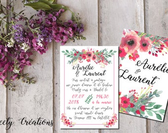 Printable wedding invitation | Flower, pink, romantic, boho, watercolor | White and pink
