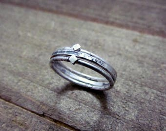 Distressed Sterling Silver Stacking Rings Handmade Set of Three Rings
