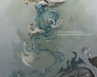 Swan Dance - A Fairy tale princess art print