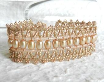 Peaches n Mocha Right Angle Weave Bracelet