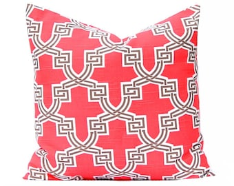 Throw Pillow Cover - Coral Pillow Cover - Decorative Pillow Cover - Sofa Pillow Covers - Home Decor - Trellis Pattern - Accent Pillow