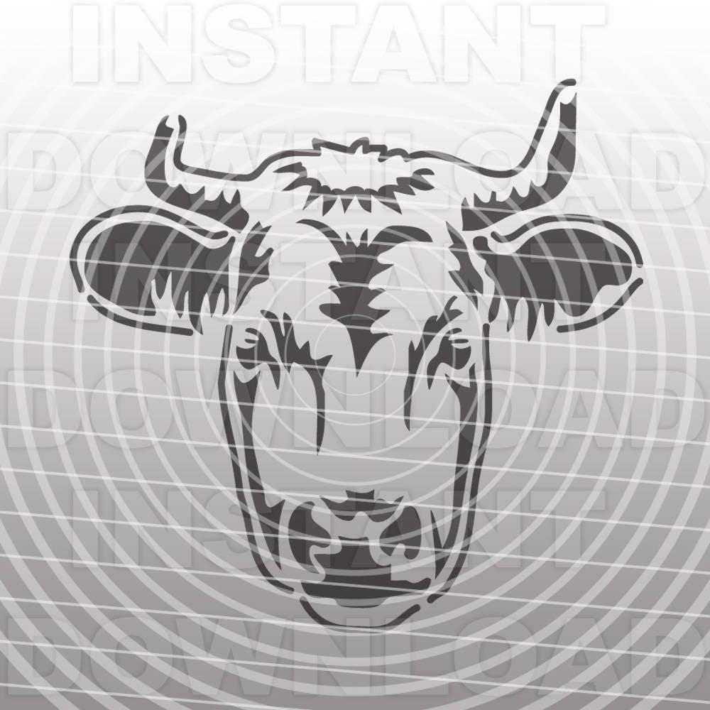 Cow Face SVG File-Cutting Template-Livestock Vector Clip Art