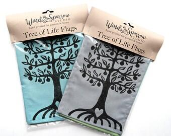 Tree of Life - Tree Flags muted tones - Hand Printed Tree - Rustic Wedding Bunting - Housewarming Banner - Garden Flag - Yoga Studio Garland