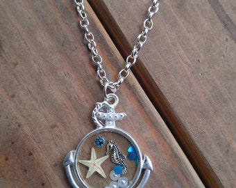 Sail Away - hand crafted resin pendant in brushed silver anchor bezel pendant with mermaid, seahorse, pearls, crystals and starfish