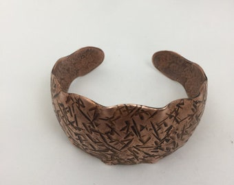 Scalloped Synclastic Hammered Texture Copper Cuff Bracelet
