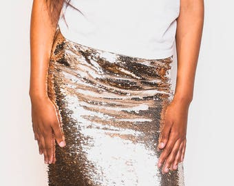 2 PC Gold and White Reversible Sequin Skirt Set