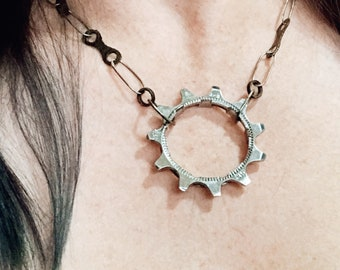 Necklace: Silver Links with Bike Parts and Gear Pendant