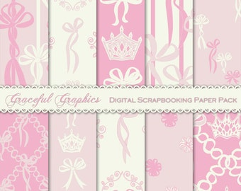 Scrapbook Paper Pack Digital Scrapbooking 10 Background Papers CROWNS Pack PRINCESS Bows Pastel Pink Bright Pink White 8.5 x 11 1877gg