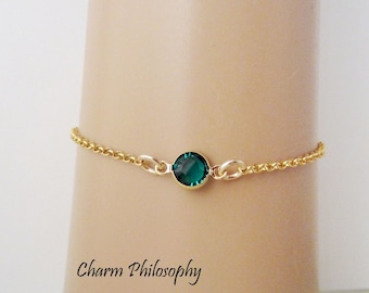 May Birthstone Bracelet - Swarovski Emerald Birthstone Anklet - Gold Filled Jewelry - Dainty Minimalist Bracelet
