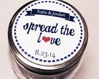 "Personalized Wedding Labels - Bridal Shower - Spread the Love Labels - Choose your Color - Mason Jar 1.5"", 2"" or 2.5"" round labels"