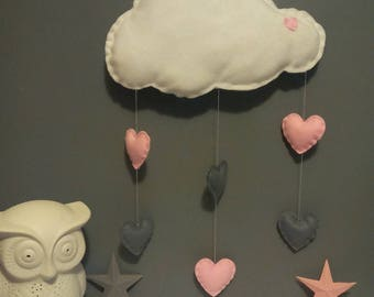 Maxi white cloud and its pink and gray hearts