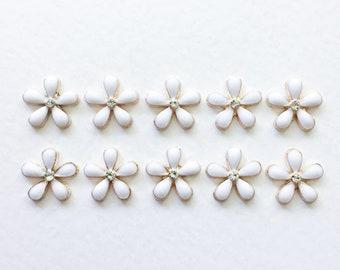 10 x White Enamel Flowers Flower Embellishments Enamel Flower Cabochons Gold Flowers