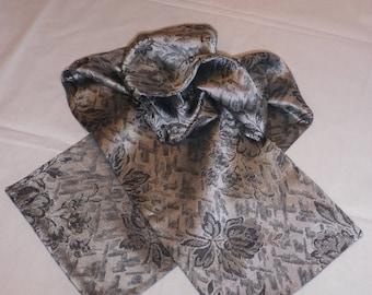 Black and gray satin fabric scarf