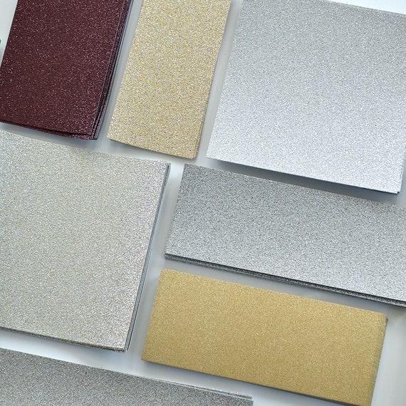 Glitter Card Stock Scraps - Gold Leaf Glitter - Silver Glitter - Bronze Glitter - Sand Glitter - Diamond Glitter - Light Gold Leaf Glitter