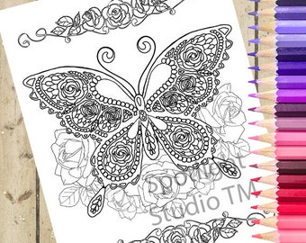 BUTTERFLY Adult Coloring Page – Fantasy Rose Butterfly Printable Coloring Page Adult Coloring Book Page Drawing Adult Coloring Page DOWNLOAD
