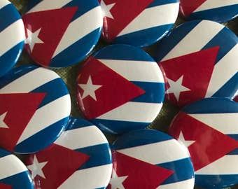 Cuba Flag Pinback Button, Magnet, Badge, Cuba Flag Button, Bandera de Cuba gift, Cuba Pin Traveler Cuba Flag Keychain Havana Cuba Pins