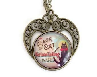 Black Cat Fortune Teller Necklace - Tell Your Future Collection  - Pendant necklace  - Vintage fortune telling game - Gift for Women