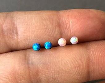 Opal Earrings, Opal Stud Earrings, Blue Opal Stud Earrings, White Opal Earrings, Stud Earrings, Opal Stud Earrings, minimalist jewelry