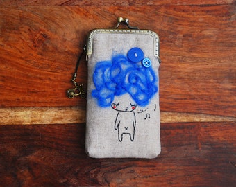 iPhone Case iPhone sleeve gadget case - Blue hair and buttons Embroidery girl ( iPhone X, iPhone 8, iPhone 8 Plus, Samsung Galaxy S8 etc. )