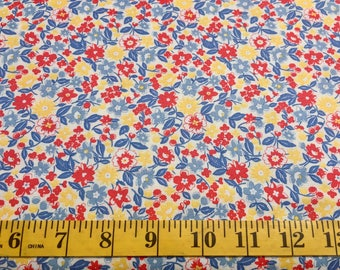 Moda Chloe's Closet 30's Play Time 33210 11 Red Blue Yellow Flowers Cotton Fabric By the Yard