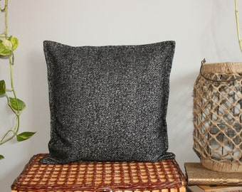Black and silver chenille pillow cover 14x14, 16x16, 18x18
