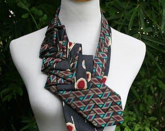 RecycledNeckties ~ Necktie Necklace -  BLACK Teal Print Silk Tie / Vintage BLACK Teal Tie - Women's Necktie - Necktie Scarf - Statement Tie