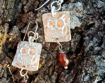 Sterling Silver with Carnelian Owl Earrings