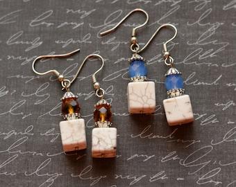 Everyday Earrings, Minimalist Blue Earrings, Cube Earrings, Geometric Jewelry, Orange Earrings, Czech Glass Earrings, JewelryFineAndDandy