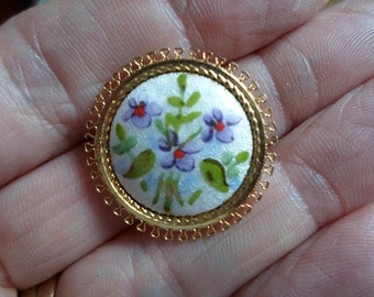 Vintage Dainty Feminine Tiny GF Floral Brooch Pin 1960s Small Little Delicate AJ Guilloche Purple Flowers Gold Filled