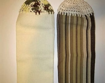 Pair Crochet-Top Kitchen Towels