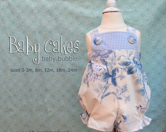 NEW RELEASE Baby Cakes - Baby Romper Bubble PDF Pattern Sizes 3m, 6m, 12m, 18m and 24m