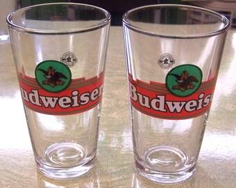 Vintage Budweiser eagle theme beer glasses bar ware