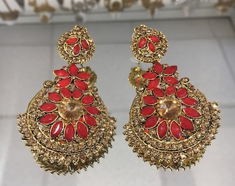 Indian style red and gold antique gold earrings