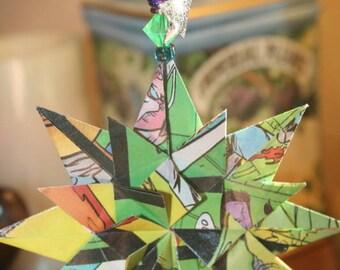 Origami Green Comic Book Triple Layer Star Hanging Ornament