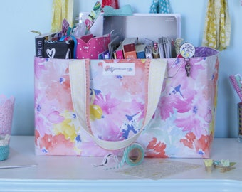 Gift Basket for Mom. Craft Supply Storage Tote. Craft Room Organizer. Gift for Her Under 50. Bible Journal Storage Bin. Floral Room Decor.