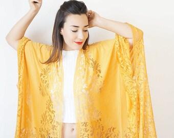 Lace Kimono Boho Kimono Yellow Kimono Fringe Kimono Fringe Pareo Wife Gift For Aunt For Her Girlfriend/ KIMONO