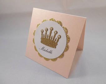 20 Personalized Name Cards, Party Decor, Blush Pink & Gold, Baby Sprinkle, Table Name Cards, Baby Shower, Table Tent Cards