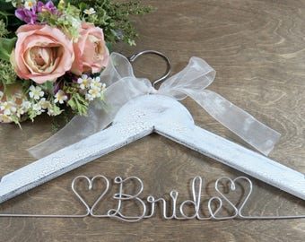 Bride Wedding Dress Hanger - Gift for Bride - Bridal Gift - White Bride Hanger - Bride Wedding Gown - Wedding Keepsake - Dress Hangers