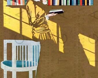 FAB Art Deco FLAPPER Lady READING A Book Coles Phillips Art Print. Vintage Books Illustration. Digital Reading Download.