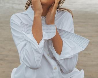 WHITE felt - White cotton oversized shirt