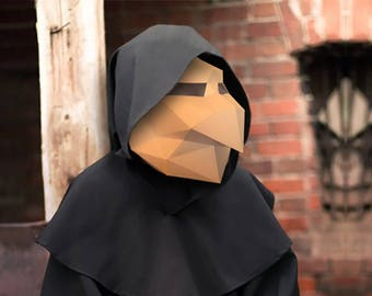 Witch Mask Hex Papercraft PDF DIY Low Poly Halloween printable Witch Head Paper Mask Printable Mask Polygon Mask