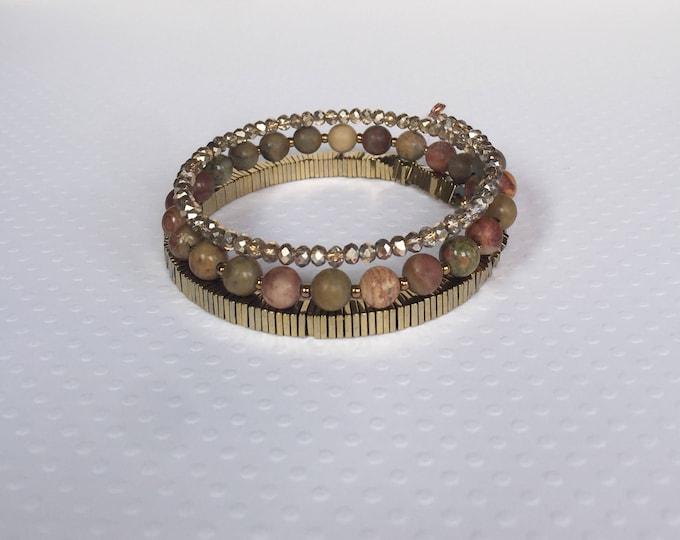 Bronze gold memory wire triple wrap bracelet, memory wire bracelet, layered bracelet, stone bracelet