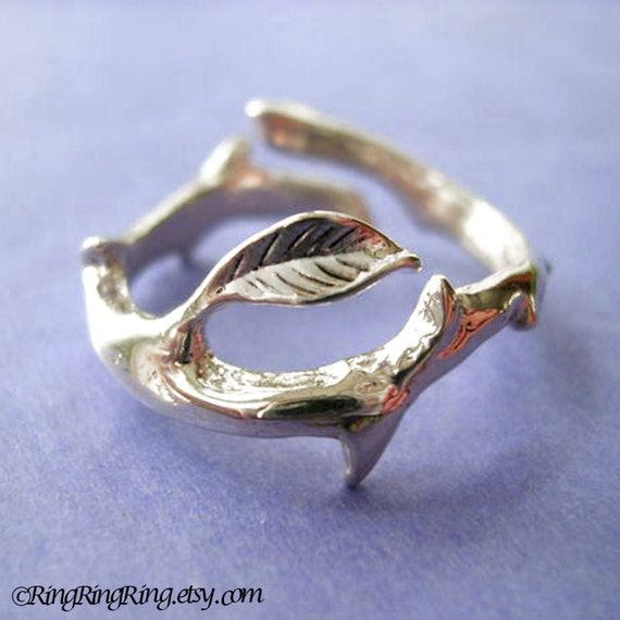 Thorn leaf ring Simple Unique Sterling Silver Jewelry handmade