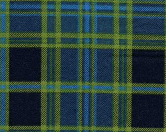 """5 1/2 Yards of 42"""" Flannel  Navy and Green Plaid"""